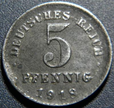 Německo Císařství 5 Pfennig 1918 XF č29921