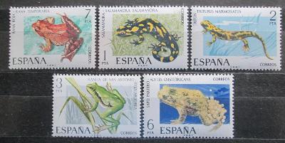 Španělsko 1975 Ještěrky a žáby Mi# 2164-68 2162