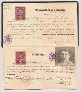 ČSR, Vůdčí list a Vysvědčení o zkoušce, automobilismus, 1930,ojedinělé