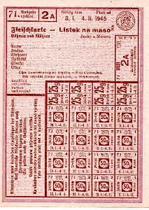 PRÍDELOVÝ LÍSTEK NA MASO 1945 ORIGINÁL KOMPLETNÍ