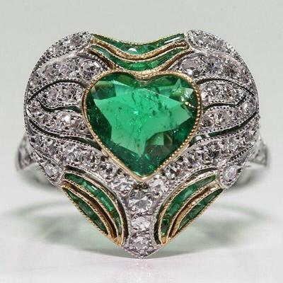 Prsten postříbřený s kamenem emerald a white topaz vel.51