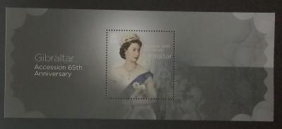 Gibraltar 2017 Bl.126 8€ 65. výročí královniny vlády, Alžběta II.