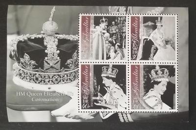 Gibraltar 2003 Bl.53 7,5€ 50. výročí královniny korunovace, Alžběta II
