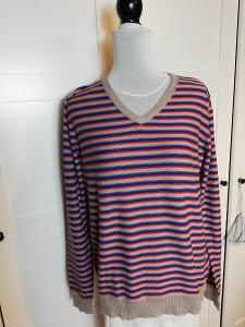 ZARA-Pánský bavlněný, svetr s barevnými pruhy, M.