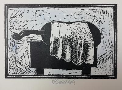 Vladimír Komárek Housle grafika dřevoryt akvarel signatura