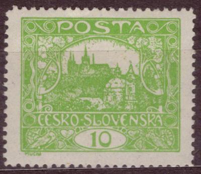 1918 (ČSR I) - Hradčany, 10h zelená, zoubkování A (6317)