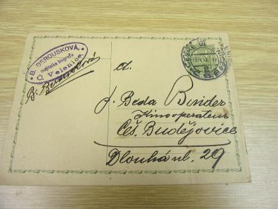 Starý korespondenční lístek B. Berousková majitelka biografu Č.Velenic