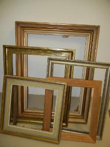 6 starých rámů na obrazy, různé rozměry