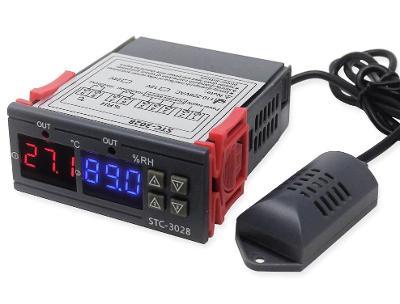 Digitální termostat + vlhkoměr 220V