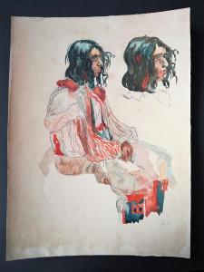 Hanuš Schwaiger. Cikán - studie / tužka, akvarel