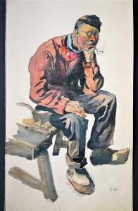 Hanuš Schwaiger. Holandský rybář - studie / tužka, akvarel