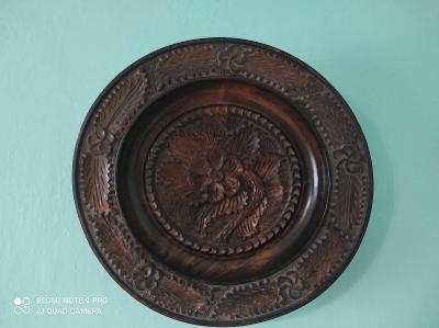 Krásný starý dřevěný talíř na zeď /ořech / 29cm