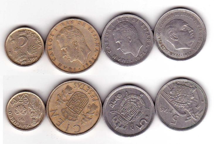 Mince  ŠPANĚLSKO ,  čtyři různé   . KON 6b - Numismatika