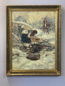 """Starý obraz - """" Žena u potoka """" - olej na plátně - rozměry 80x99"""