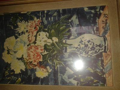 Obraz Kytice 60x80cm signován V.Špála 35.Asi kopie.Neověřeno.