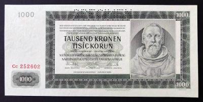 1000 K 1942 II. vydání série Cc SPECIMEN, stav UNC !!!