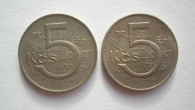 5 Kčs 1973 obě varianty