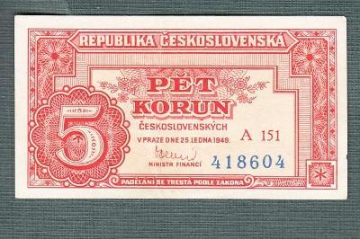 5 kčs 1949 serie A151 neperforovana stav 1