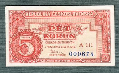 5 kčs 1949 serie A111 neperforovana stav 1+