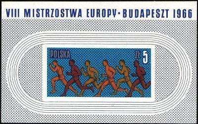 Polsko 1966 Známky Aršík Mi 39 ** sport Lehká atletika běží