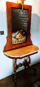 Starý toaletní stolek se zrcadlem a mramorovou deskou, RARE!!! *******