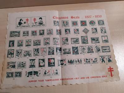 Zálepky nálepky reklamní vánoční 1907-1959