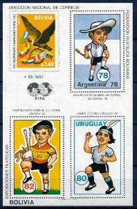 Bolívie 1980 **/Mi. Block 98 , fotbal  , /L22/