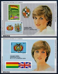 Bolívie 1982 **/Mi. Block 122 + 123 , Princezna Diana , vlajka , /L22/