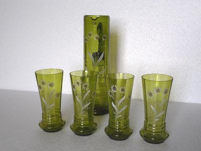 Sleněná souprava - zelené sklo - malovaná