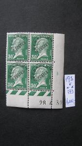 Francie - čistý rohový čtyř blok známek katalogové číslo 193