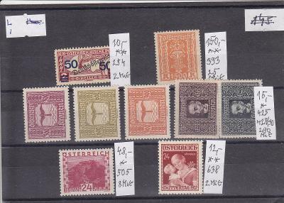 Sestava **/* příležitostných a doplatních známek Rakouska v ceně 600Kč