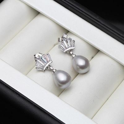 N85 stříbrné náušnice  říční perla **ŠEDÁ