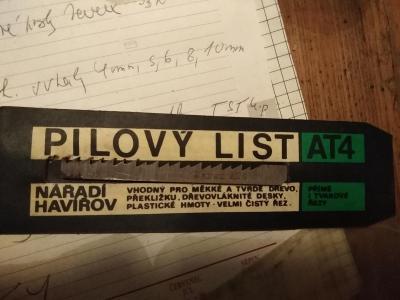 Starý pilový list TST, Made in Czechoslovakia, list AT4, nepoužité