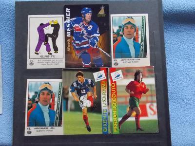 Reklamní kartička karta série sada Kung Fu  boj kopaná hokej lyžování