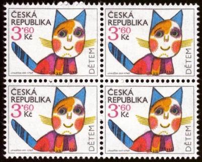POF. 80 - DĚTEM 1995, KOČKA - ČTYŘBLOK (S1562)