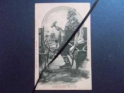 Luxusní tlačená reliéfní pohlednice  Lešetínský kovář kresba Häusler