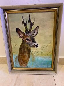 Obraz olej na kartonu - jelen