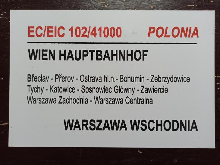 Směrová cedule PKP - EC 102/103 POLONIA - Ostatní
