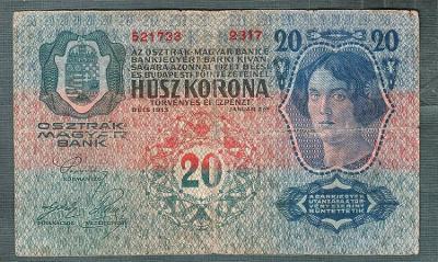 20 korun 1913 serie 2317 bez přetisku