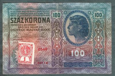 100 korun 1912 KOLEK serie 2040 bez přetisku