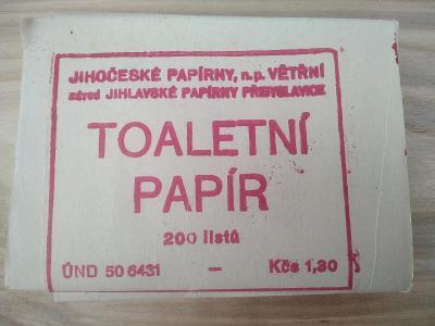 starý retro toaletní papír papírny Větřní socialismus ČSLA