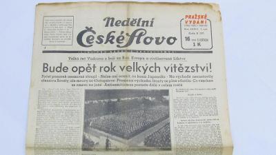 VELKÁ ŘEČ VŮDCOVA BUDE OPĚT ROK VELKÝCH VÍTĚZSTVÍ HITLER noviny 1942