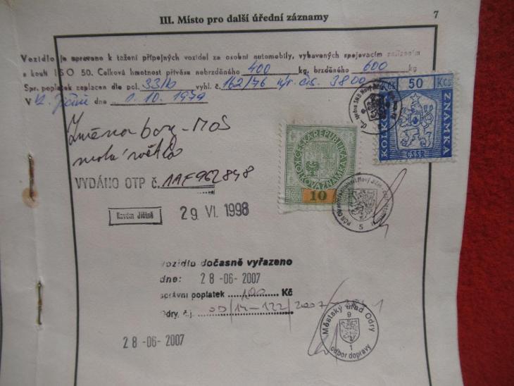 STARÝ TECHNICKÝ PRŮKAZ ŠKODA 120L  - 210114/04 - Příslušenství k veteránům