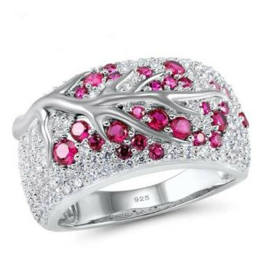 prsten stříbrný s kamenem ruby vel.53