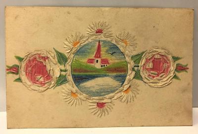 Stará pohlednice / dopisnice /pohled - kostel - rybník - les - květina