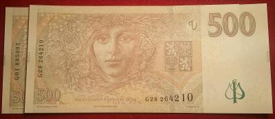 500 Kč 2009 G01aG28 UNC prv. a posled. bank. I.desky - pro specialisty