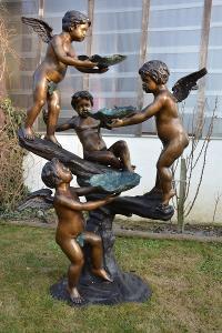 Zámecká bronzová fontána s amorky -UNIKÁT- 165 cm