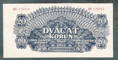20 korun 1944 serie HK NEPERFOROVANA stav 1+