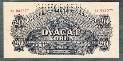 20 korun 1944 serie BA perf. stav UNC