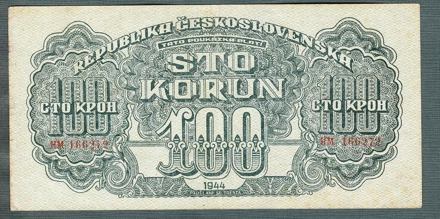 100 korun 1944 serie HM NEPERFOROVANA - Bankovky